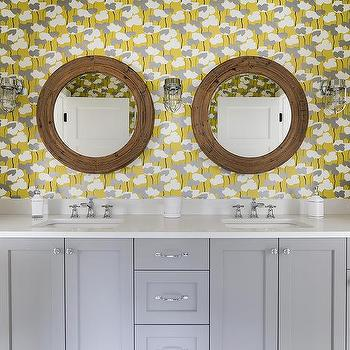 Yellow and Gray Bathroom with Gray Dual Washstand