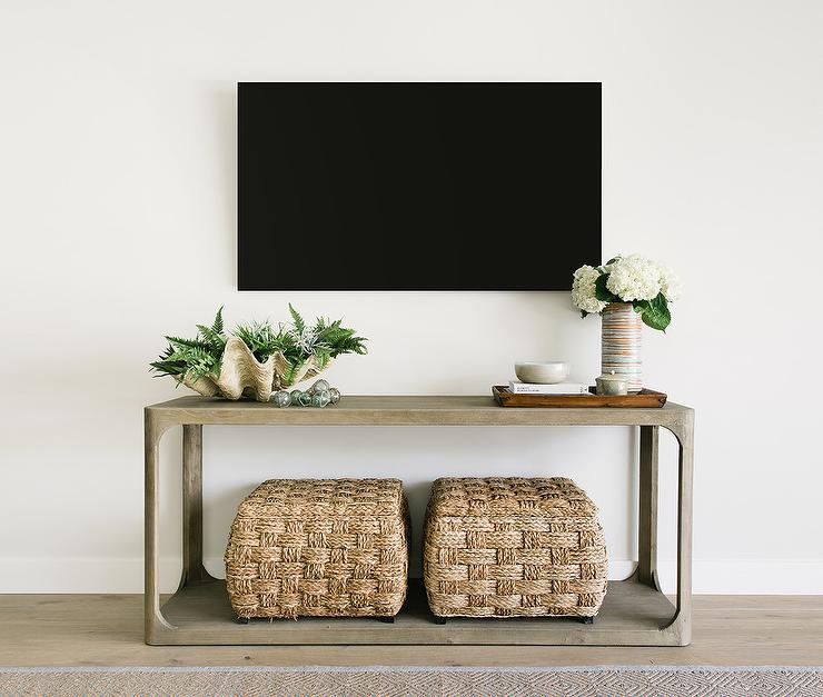 Restoration Hardware Martens Console Table With Tv Transitional