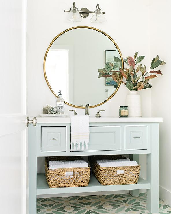 Light Blue Single Washstand With Round Gold Mirror Cottage Bathroom