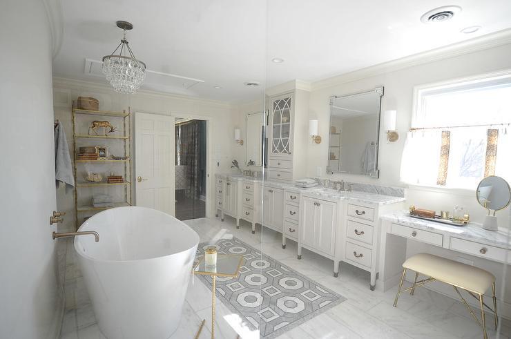 white and gray marble geometric carpet bath floor tiles