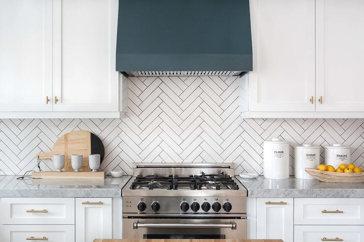 Blue Metal Range Hood with White Cabinets - Transitional ...