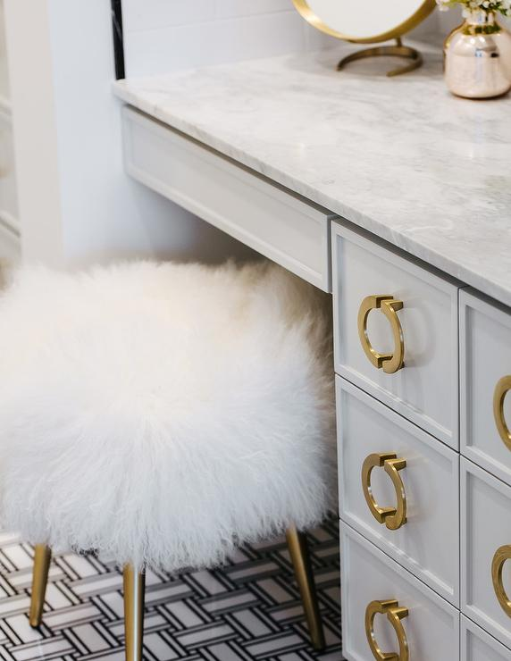 gold makeup vanity table. White and Gold Makeup Vanity Stool at Gray Dressing Table
