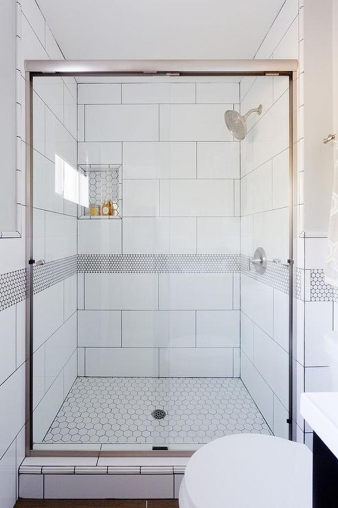 White And Gray Shower Border Tiles Transitional Bathroom