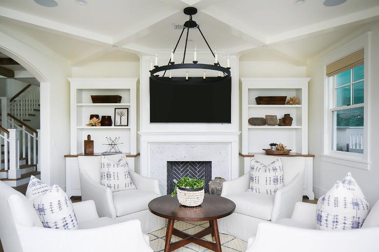 White Slipcover Chairs With Round Coffee Table Transitional - Round lattice coffee table