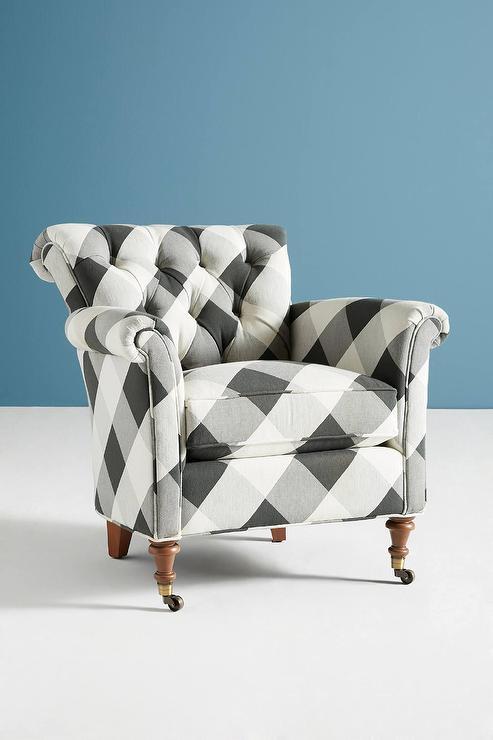 Gwinnette Black White Buffalo Check Tufted Chair