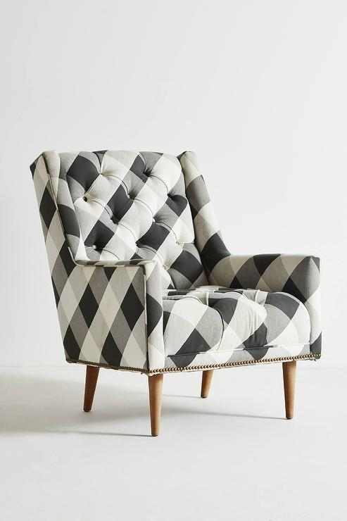 Buffalo Check Black White Tufted Booker Chair