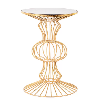 Kirklands Gold Abstract Iron Wire Glass Top Accent Table Look for Less