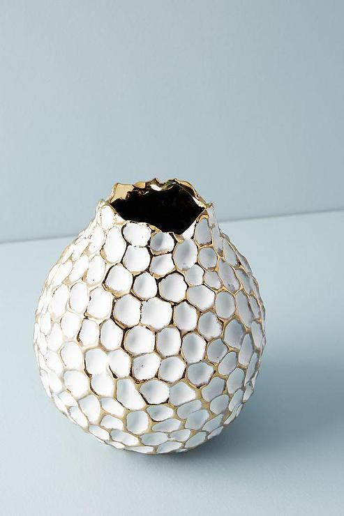 White Geometric Honeycomb Faceted Vase