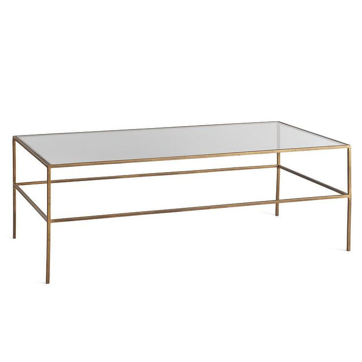 St Germain Antique Brass Tempered Glass Coffee Table