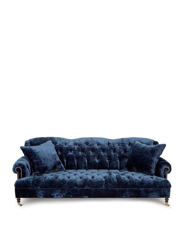 Divina Crushed Velvet Navy Tufted Sofa