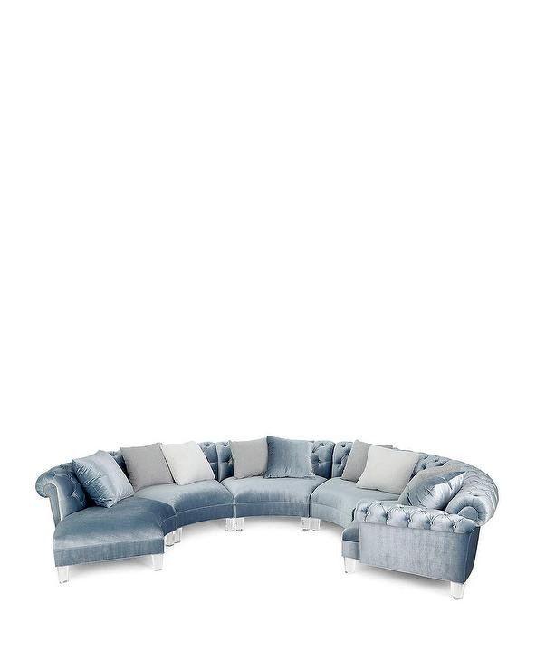 Varianne Curved Light Blue Tufted Sectional Sofa