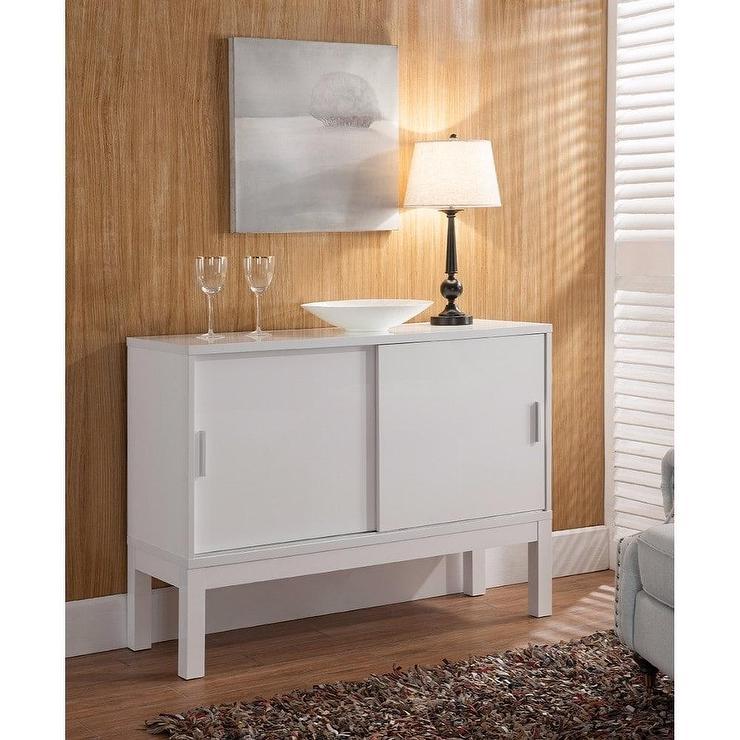 Benzara White Wood Sliding Doors Buffet Table