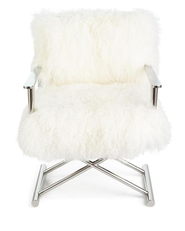 sc 1 st  Decorpad & Emerson White Sheepskin Chrome Directors Chair