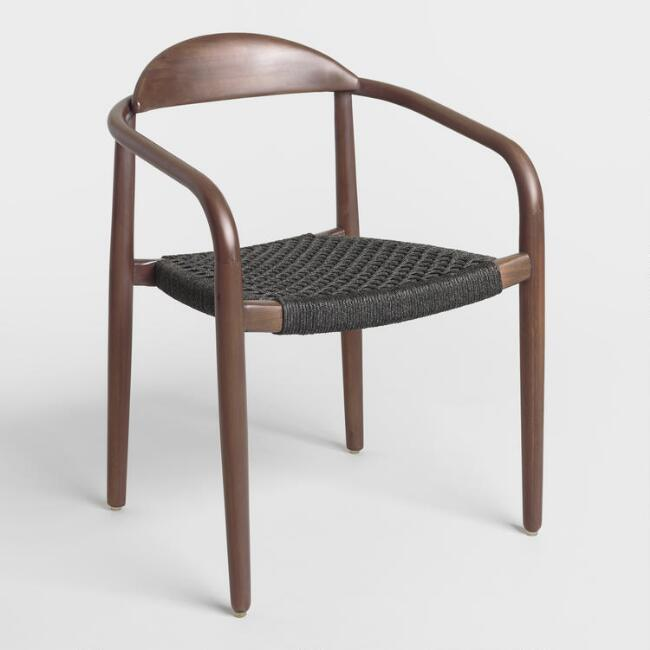 Favorite Aimee Gray Woven Curved Wood Dining Chair BB68