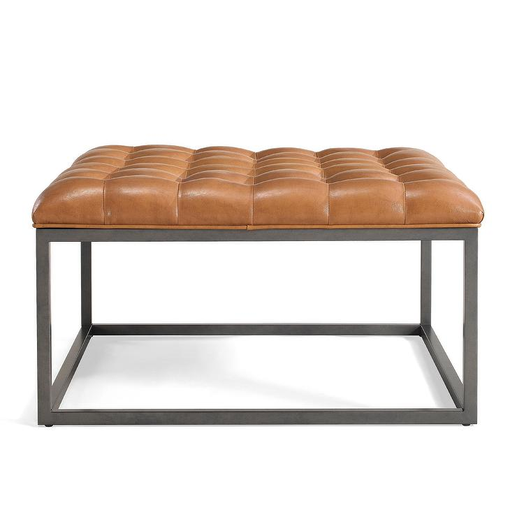 Pleasing Healy Saddle Brown Leather Tufted Ottoman Caraccident5 Cool Chair Designs And Ideas Caraccident5Info