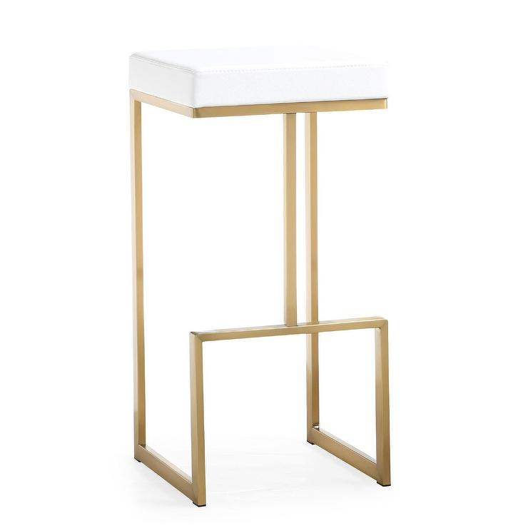 Terra Bamboo Swivel Counter Height Bar Stool In White