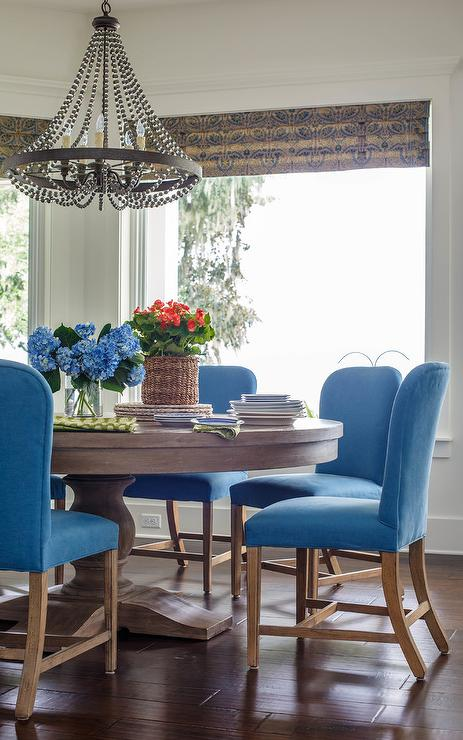 Blue Slipcover Dining Chairs With Round Table