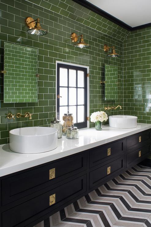 Merveilleux Green And Black Bathroom Colors