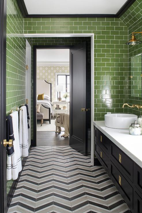 Gold And Black Bathroom With Gold Rivet Medicine Cabinets