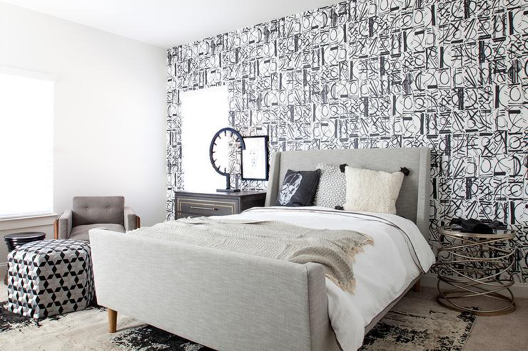 Gray Wingback Bed with Black and White Wallpaper ...