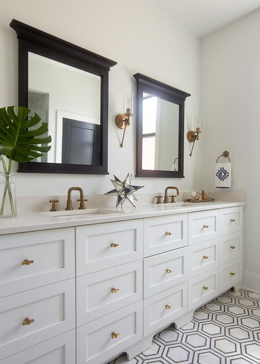 White bathroom with antique brass sconces modern kitchen - White wood framed bathroom mirrors ...