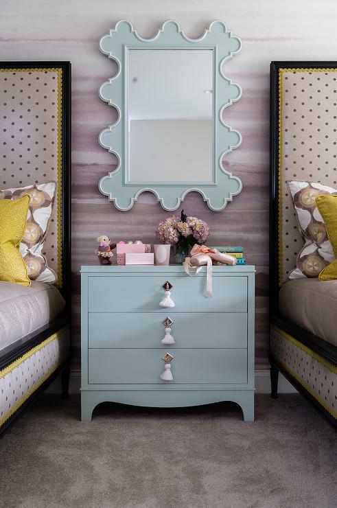Pink Girls Bedroom With Ikea Stockholm Rug Transitional