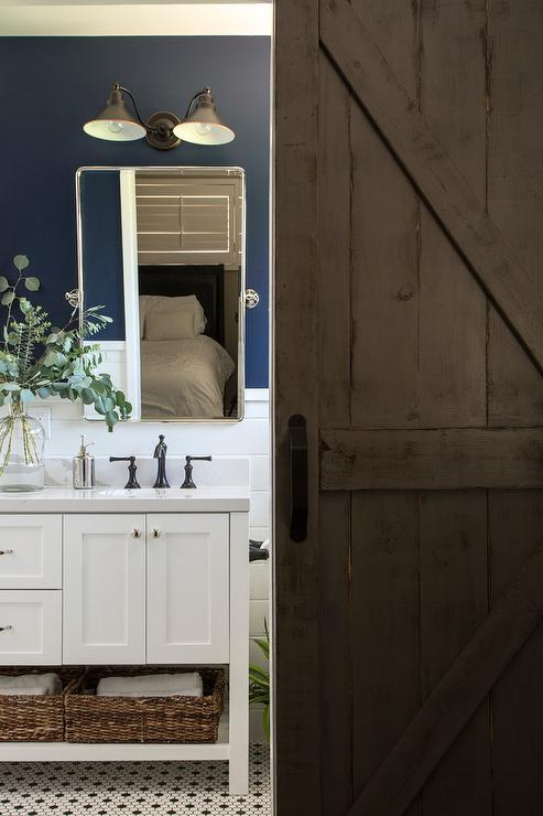 Espresso Stained Dual Washstand With White Marble Like
