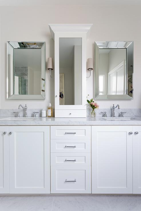Mirrored Countertop Medicine Cabinet Between Sinks Transitional Bathroom