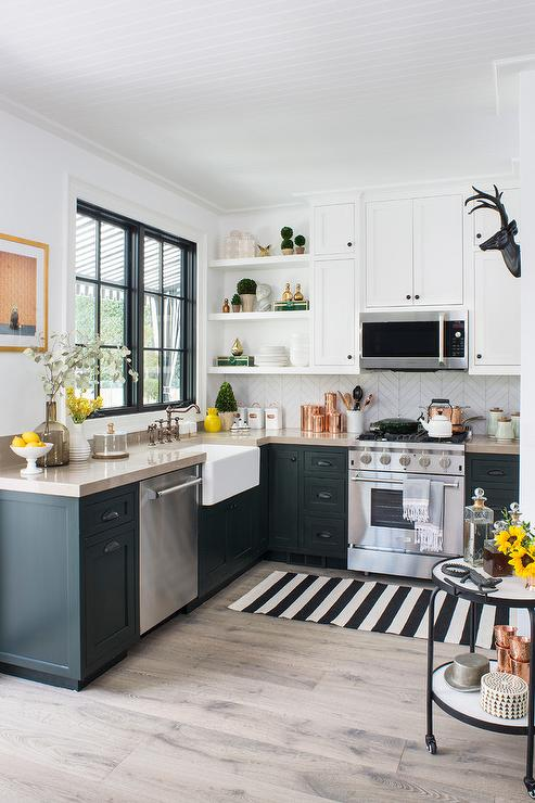black cabinets with taupe countertops - Eclectic Kitchen