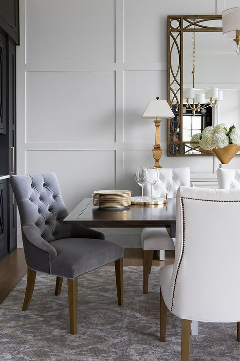 White And Gray Velvet Mixed Dining Table Chairs