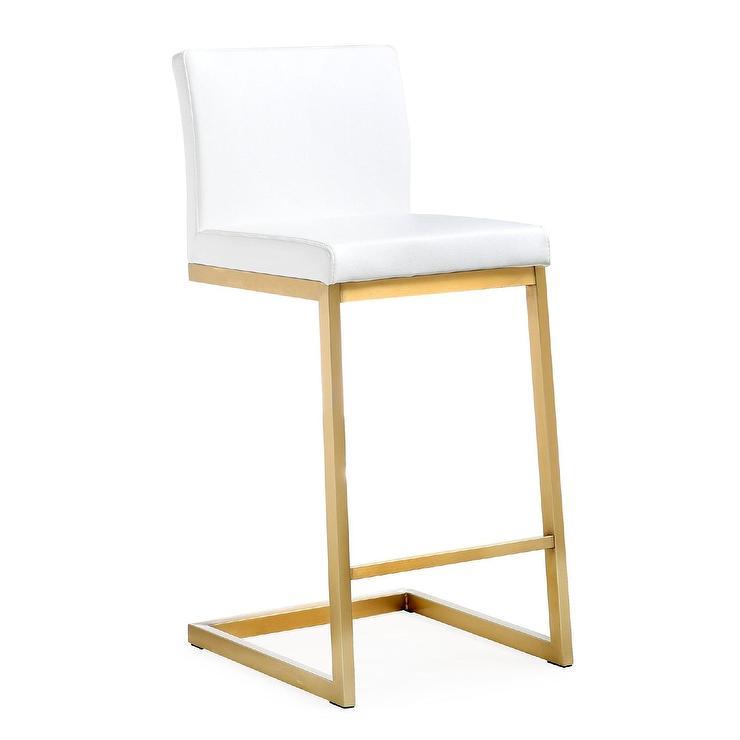 Seating Geometric Brass White Bar Stool