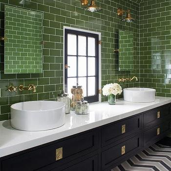 black staggered shower tiles with gray greek key border