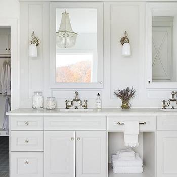 gray marble herringbone tiles with white dual washstand