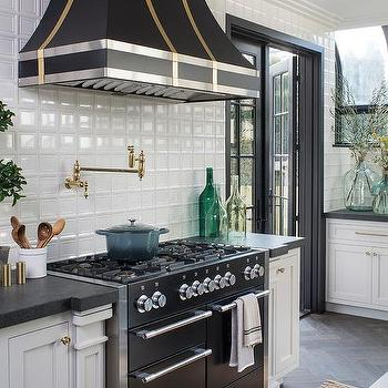 Lovely White Glass Grid Tiles With Black Mercury Stove