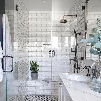 White Bathroom With Blue Glass Tile Backsplash