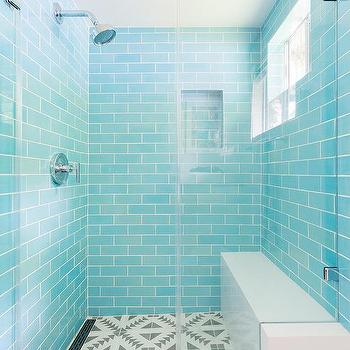 Turquoise Blue Subway Shower Wall Tiles