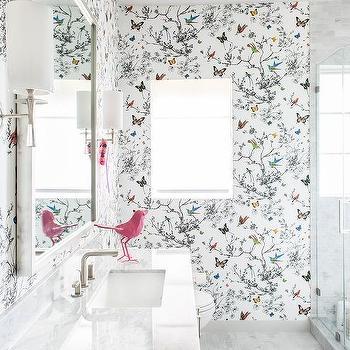 Schumacher Birds And Butterflies Wallpaper Design Ideas