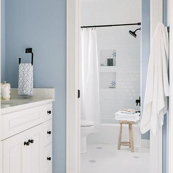 White And Blue Cottage Bathroom Colors