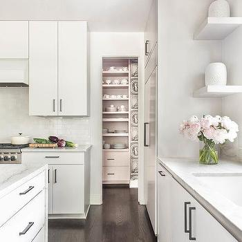 Superbe White Lacquered Cabinets With White Floating Shelves