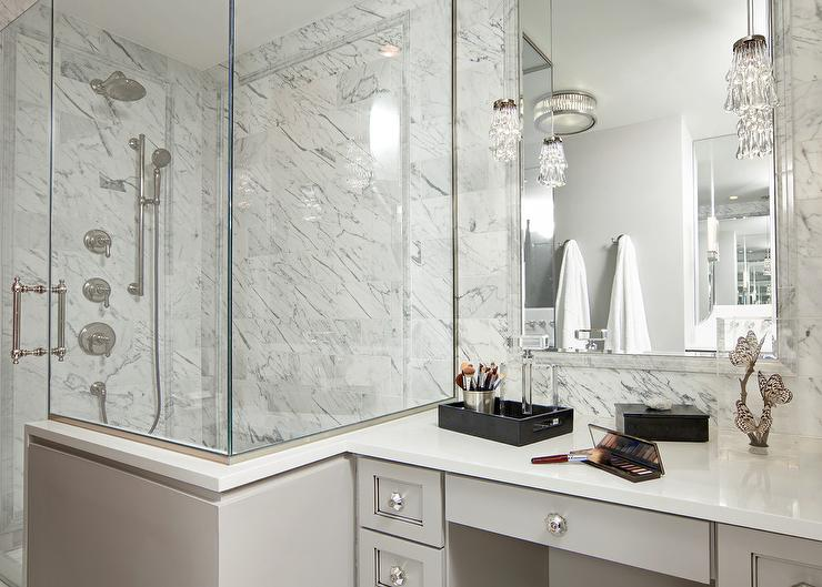 White Bathroom Vanity With Gray Mirror Transitional