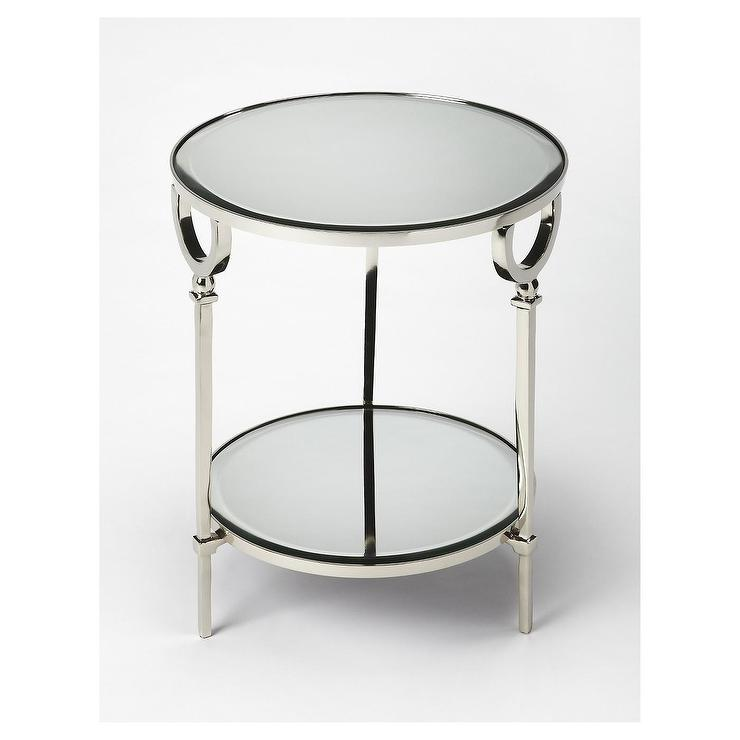 Madison Park Emily Oak Chrome End Table
