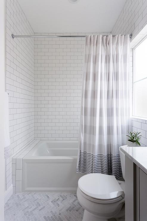 Gray Stripe Shower Curtain at Drop In Bathtub - Transitional - Bathroom