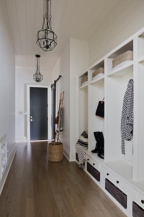 Red Brick Herringbone Mudroom Floor Transitional Laundry Room