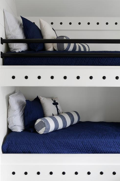 Nautical Style Bunk Beds With Anchor Pillows