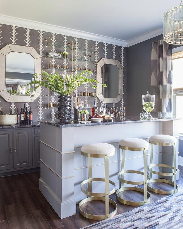 Brass And Glass Bar Shelves Design Ideas