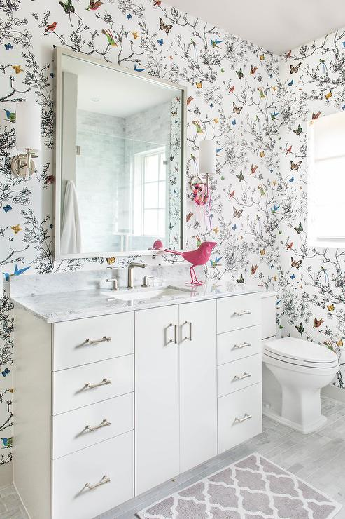 . Whimsical Kids Bathroom with Birds and Butterflies Wallpaper