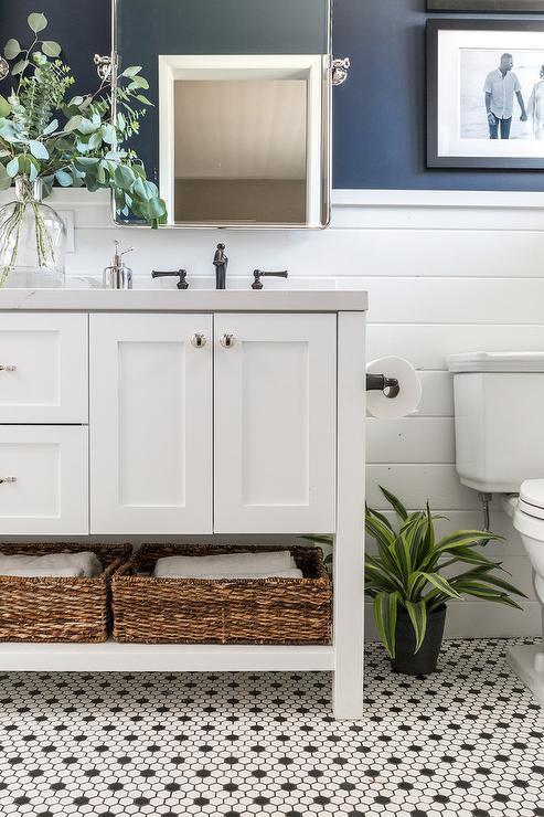 Black Vanity Bathroom Blue Wall: Navy Dual Bathroom Vanity With White Marble Top