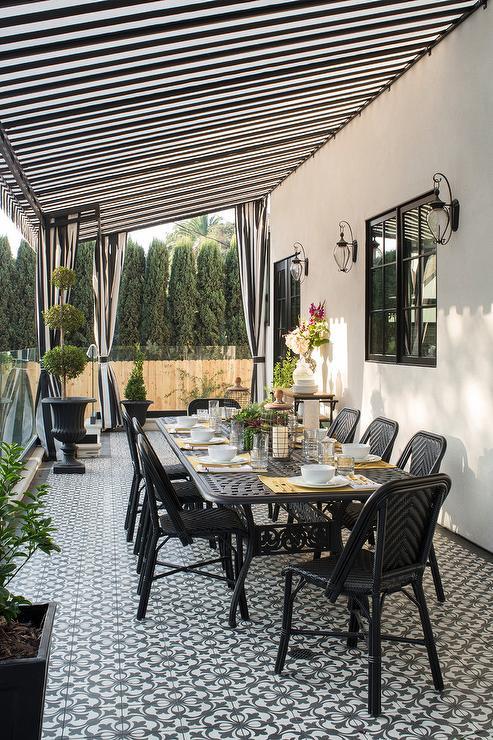 Black and White Stripe Backyard Canopy & Black and White Stripe Backyard Canopy - Transitional - Deck/patio