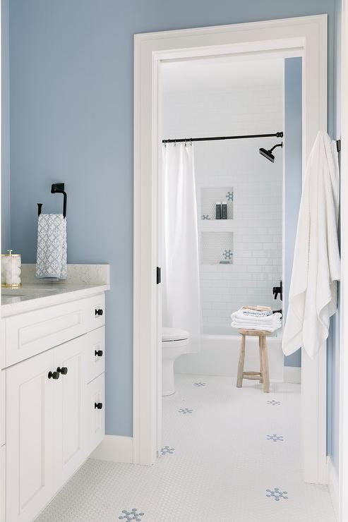 Perfectly Styled White And Blue Cottage Bathroom Boasts Vintage Hex Floor Tiles Complementing A Washstand Contrasted With Oil Rubbed