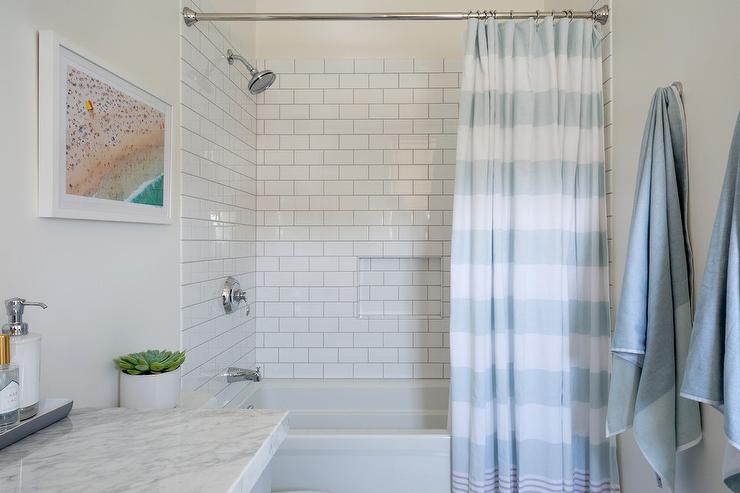 Blue Stripe Shower Curtain with White Subway Tiles - Transitional ...